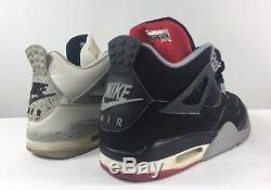 1999 Air Jordan Retro IV 4 Black & White Cement Set Sz 11 Very Rare! Authentic