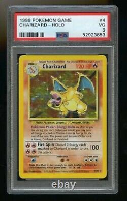 1999 Pokemon Base Set Charizard 4/102 Holo Rare PSA 3 VG Very Good