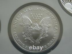 2008 W Reverse of 2007 Silver Eagle NGC MS70 NGC 4 Coin Holder Set. Very Rare