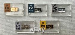 5 Grains Very Rare Precious Metal Set Gold Platinum Palladium Silver Copper