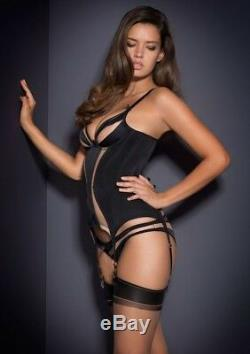 AGENT PROVOCATEUR SEXY VERY RARE BLACK EVALYNE BASQUE full set 32B brief size 2