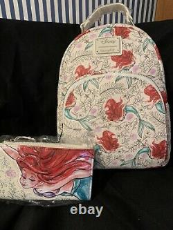 Disney LOUNGEFLY ARIEL Mini Backpack And Wallet Set VERY VERY RARE NWT