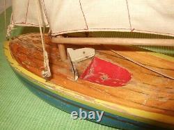 Lego Wood Vintage Denmark 1940s 1950s Prototype Sailboat Very Rare Original Sail
