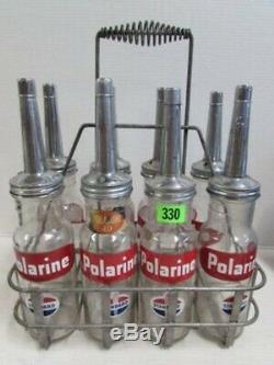 ORIGINAL VERY RARE Full Set Of 1Quart Polarine STANDARD Oil Glass Bottles W Rack