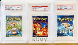 PSA 10 Gem Mint Pokemon Base Set 1 Booster Packs x 3 All Artworks Very Rare 1999