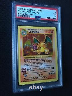 SHADOWLESS Charizard 4/102 PSA 3 Very Good Holo Pokemon Card Rare WOTC Base Set