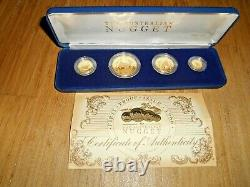 VERY RARE 1986 1.85 OZ AUSTRALIAN NUGGET PROOF GOLD 4 COIN SET (WithBOX & COA)