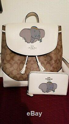 VERY RARE SET Authentic Coach Disney Dumbo matching backpack/wallet set