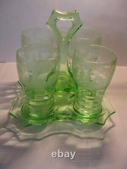 Very RARE Cambridge lt. Emerald beverage set GOLF etch 4 tumblers + handled tray