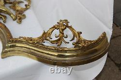 Very RARE PAIR Antique 19thc French Fireplace Curved Andirons set putti