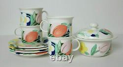 Very Rare Arabia Finland Arctica Poetica Coffee Cups, Saucers and Sugar Bowl Set