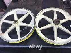 Very Rare White or yellow ACS Z-MAGS 6 Spoke MAGS Old School BMX Set Rims zmags
