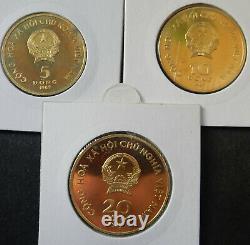 Vietnam Complete set 5+10+20 Dong 1989 Brass Very rare