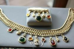 Vintage Givenchy Necklace And Brooch Set Heavy 4 Strands Very Rare Find
