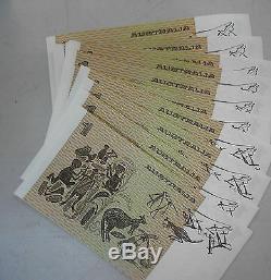 1 $ Note Set 10 (avec Numéros Consécutives Série Same) Uncirculated Tres Rare