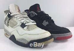 1999 Air Jordan Retro IV Ciment 4 Noir Et Blanc Set Sz 11 Très Rare! Authentique