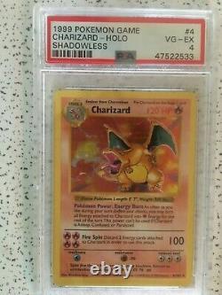 1999 Base De Pokemon Set 4/102 Holo Charizard Psa 4 Shadowless Très Bon-excellent