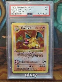 1999 Pokemon Game Base Set 1ère Édition Holo Charizard #4 Psa Très Rare Le Graal