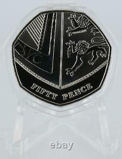 2016 50p Shield Coin De Royal Mint Set Very Rare Bu 7 Sided Capsule