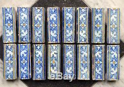 Antique Ensemble Très Rare De 16 Delft Espagnole Majolique Carreaux Floral 17 C. Achterber