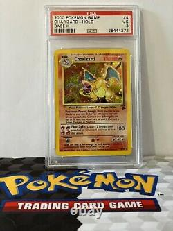 Base De Carte Pokémon Charizard Set II 2 Psa 3 4/130 Rare Holo Foil Très Bon 2000