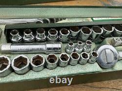 Boîte À Outils Vintage Très Rare Sk 3/8 Avec Outils Prises Nos Clés À Cliquet