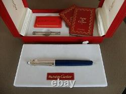 Cartier Pasha Fontaine Pen Lazuli Lapis Avec18k Gold Nib Très Rare Ensemble Complet