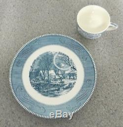 Currier & Ives Par Royal The Old Gristmill 2 Pc Set Snack - Tres Rare