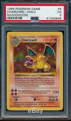 Dracaufeu 1999 Shadowless Pokemon Base Set # 4/102 Holo Tres Rare Psa 3 Très Bon