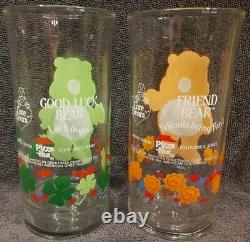 Ensemble Complet De 6 Care Bear 1983 Pizza Hut Glasses With Very Rare Good Luck Bear