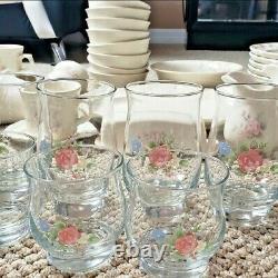 Ensemble De 64 Pfaltzgraff Tea Rose Mint Condition Vintage Retired Very Rare - Unique