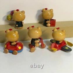 Hello Kitty Wood Collection 5 Ensemble Retro Vintage Sanrio Very Rare Boutique Limitée