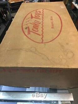 Incroyable 1950 De Tonka Toy Box Très Rare Original B-212 Service Des Incendies 3pc Set