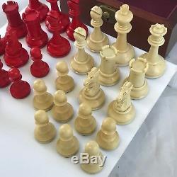 Jeu D'échecs Staunton Jaques Fremont Très Rare Rouge Et Blanc Circa 1900-1920 Avec La Boîte
