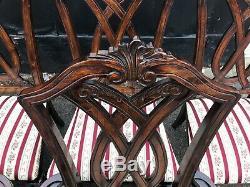 Jeu Exquis Très Rare De 6 Chaises De Style Chippendale, Poli Pro Français