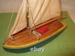 Lego Wood Vintage Danemark 1940s 1950 Prototype Sailboat Very Rare Original Sail