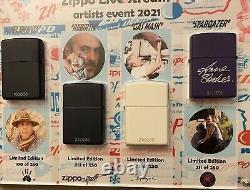 Live Zippo Artist Week Affichage Personnalisé Avec Un Ensemble Complet De Zippos Très Rare Signé