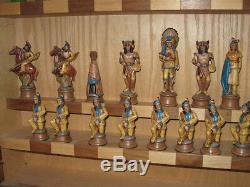 Native American / Western Jeu D'échecs, Très Rare Avec Vitrine