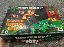 Nintendo 64 Ensemble De Consoles Donkey Kong N64 Cib Très Rare