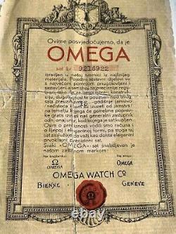 Omega Millésime 1938. Ensemble Complet, Boîte Et Papiers Avec L'historique De Service Très Rare