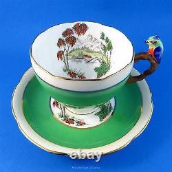 Poignée De Perroquet Très Rare Scenic Handpainted Royal Grafton Tea Cup And Saucer Set
