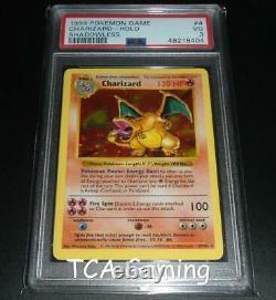 Psa 3 Très Bon Charizard 4/102 Shadowless Base Set Holo Rare Pokemon Card