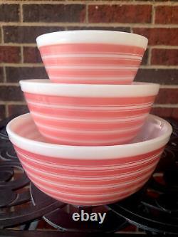 Pyrex Rainbow Pink Stripe 3pc Mixing Bol Set, Très Rare 401, 402 & 403