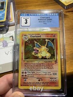Rare 2000 Pokemon Base Set 2 Charizard Holo 4/130 Cgc 3 Très Bon