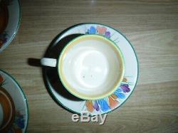 Rare Clarice Cliff Crocus Set Café Pour 6 Y Compris Coffee Pot Très Bon Con