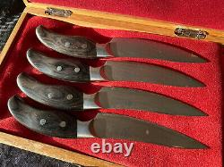 Set De 4 Shun Ken Onion Dm-0511 Steak Knifes 4-1 / 2 Lame Très Rare Cas