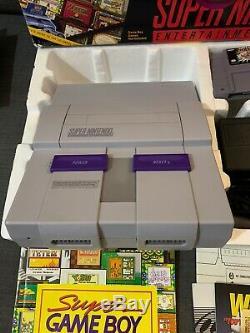 Super Nintendo Super Nes Super Game Boy Set Très Rare Complete In Box Snes Cib