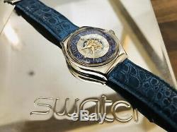 Swatch Montre Saz101 Tresor Solide Platinum Magique Cas Très Rare Ensemble Montre