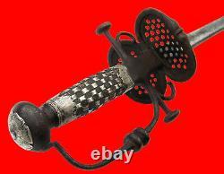 Très Rare 16ème-17ème C. Allemand Saxon Silver Monté Off-set Blade Rapier Sword