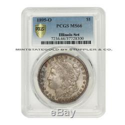 Tres Rare 1895-o $ 1 Petit Bijou Morgan Pcgs Ms66 Classé Set Pièce Silver Dollar Illinois